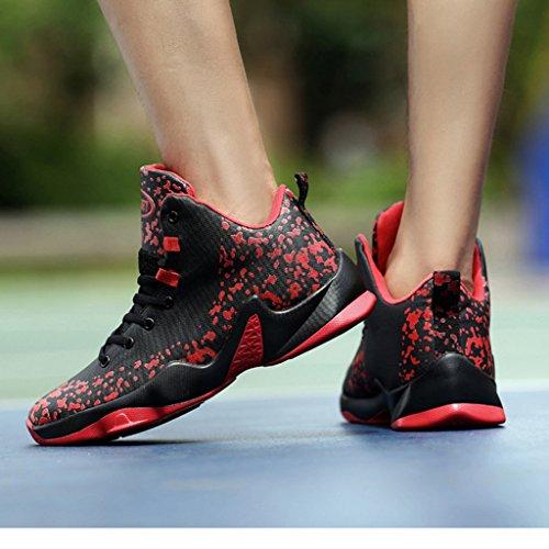 Männer High Top Basketball Schuhe Leichte Casual Wanderschuhe Rutschfeste Dämpfung Atmungsaktive Turnschuhe 39-44 Rot