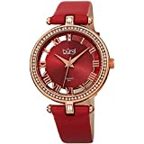 Burgi Genuine Leather Women's Watch – Swarovski Crystal Studded Bezel, 2 Diamond Markers, See Through and Sunray Dial, Red Strap - BUR228RD