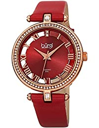 Genuine Leather Women's Watch – Swarovski Crystal Studded Bezel, 2 Diamond Markers, See Through and Sunray Dial, Red Strap - BUR228RD