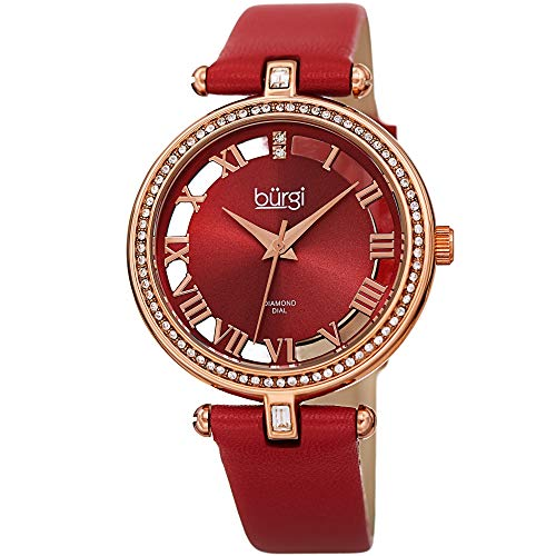 Burgi Genuine Leather Women's Watch - Swarovski Crystal Studded Bezel, 2 Diamond Markers, See Through and Sunray Dial, Red Strap - BUR228RD
