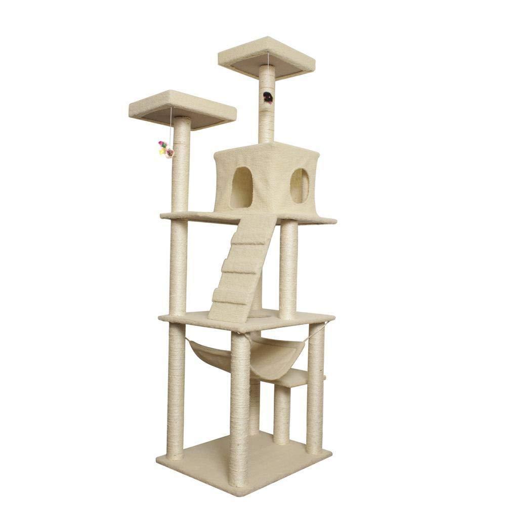 Hexiansheng Cat Climb Trees Cat Tree Pet Supplies cat Furniture 60  50  183cm Beige