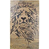 Lion Wood Sign Wall Decor – 26X42 XL Size Rustic Distressed Pallet Signs Handmade Real Wood Ready 2 Hang Art That Will Look Perfect on Your Family Home – Strong Courageous Lions Wood Sign For Sale