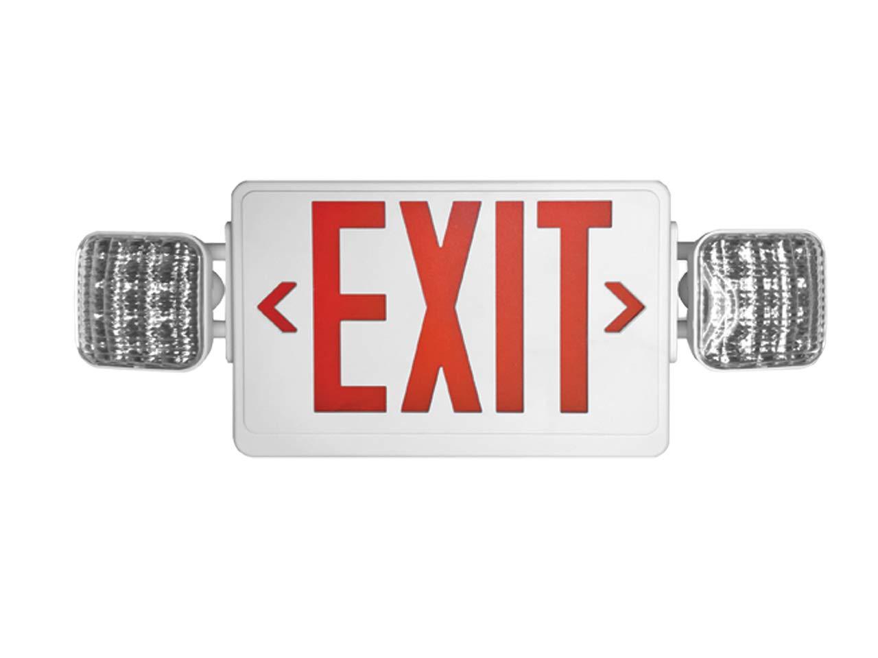 Howard Lighting HL03143RWRC LED White Case Exit Sign/Emergency Light Combo