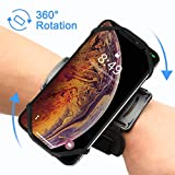 VUP Running Armband, Universal Fore Arm Phone Holder 360° Rotatable Hands free Mount For iPhone 6, 7, 8 Plus, X Xs Max Xr Samsung S9+ S10+ plus (Black)