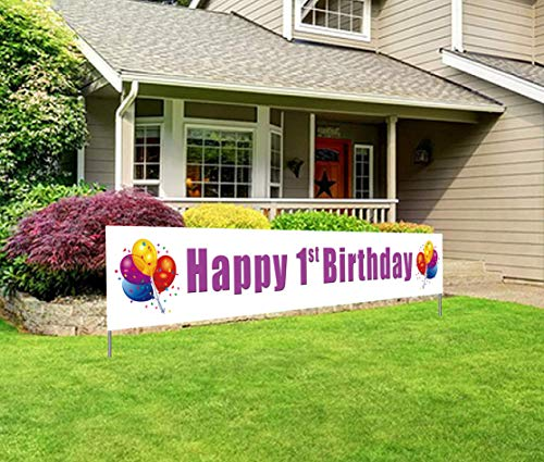 1st Birthday Yard Sign (Large Happy 1st Birthday Banner, First Birthday Party Sign, Universal Boy Girl 1st Bday)