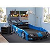 Delta Children Turbo Race Car Twin Bed | 47.5W x 22.5H x 94D (Blue)