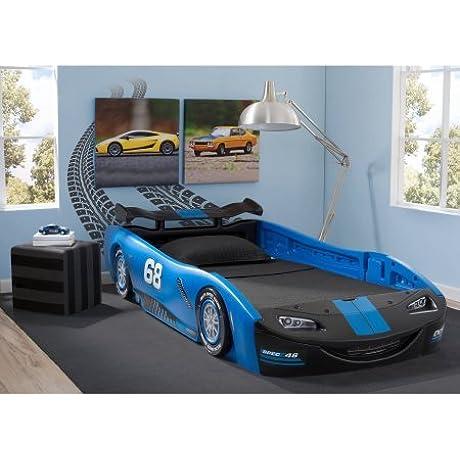 Delta Children Turbo Race Car Twin Bed 47 5 W X 22 5 H X 94 D Blue