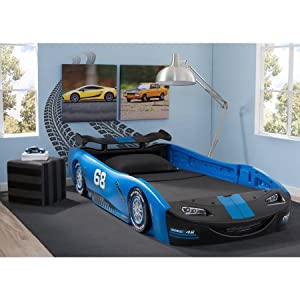 "Delta Children Turbo Race Car Twin Bed | 47.5""W x 22.5""H x 94""D (Blue) 8"