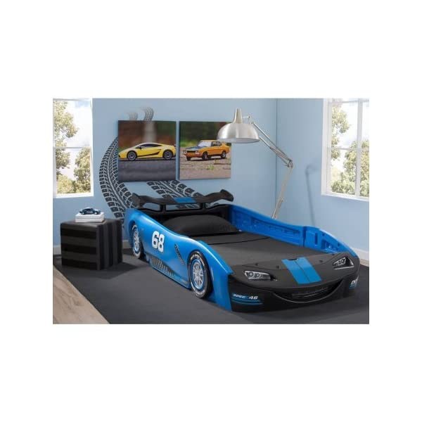 "Delta Children Turbo Race Car Twin Bed | 47.5""W x 22.5""H x 94""D (Blue) 1"