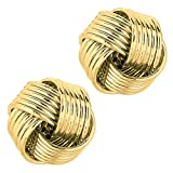 14k Yellow Gold Shiny 6 Row Love Knot Stud Earrings, 12mm