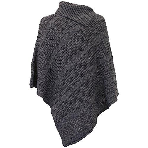 CHO Pull Femme Poncho/Cape en Tricot - Taille unique, Gris - GPOUN2