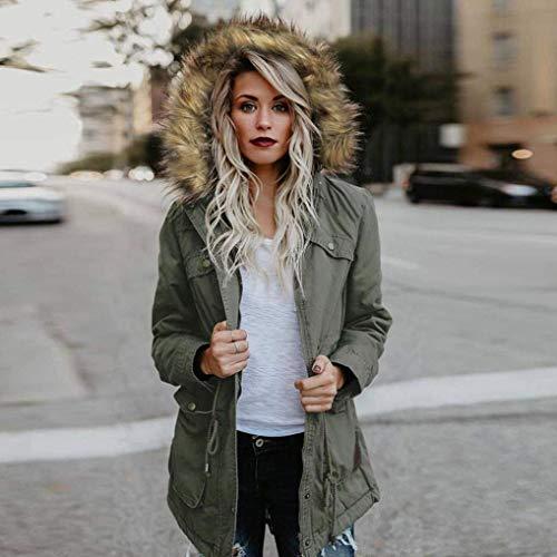 Donna Especial Cappuccio Colori Coulisse Lunga Tasche Manica Cappotto Giacca Cerniera Outdoor Baggy Estilo Anteriori Con Coat Solidi Jacket Invernali Armeegrün ZwOqExZrS8