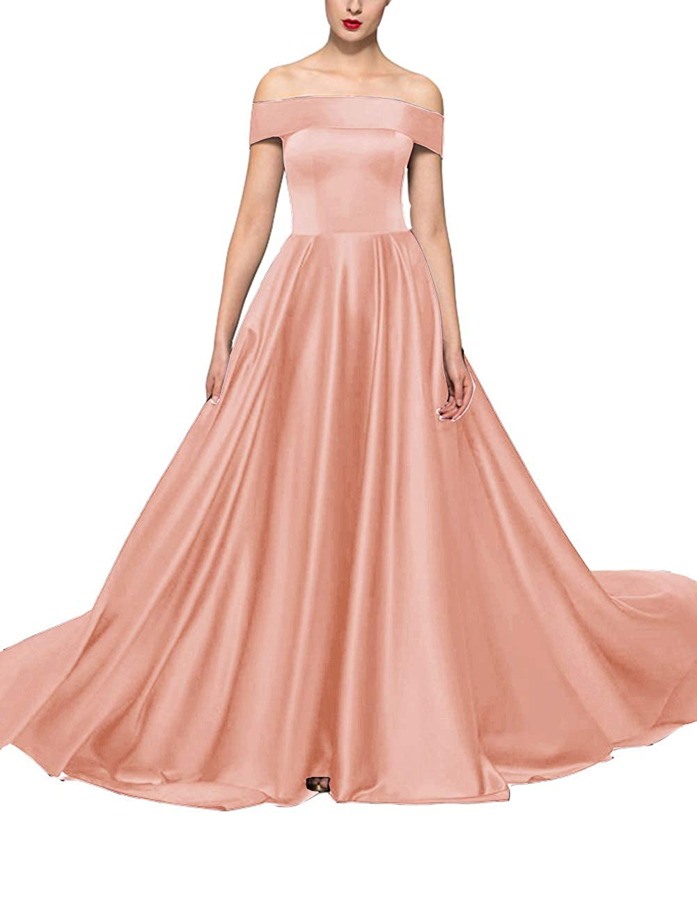 Peach Uther Formal Wedding Guest Party Dresses Off The Shoulder ALine Long Evening Dress