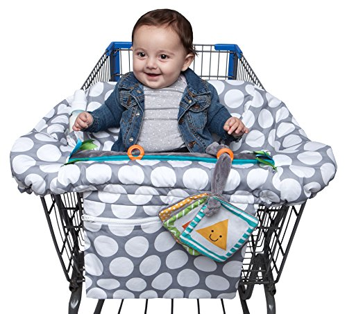 (Boppy Preferred Shopping Cart and Restaurant High Chair Cover, Gray Jumbo Dots)