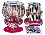 Tabla Drum Set by Maharaja Musicals, Professional, 3.5 Kilograms Copper Bayan - Designer Carving, Sheesham Tabla Dayan, Padded Bag, Book, Hammer, Cushions, Cover, Tabla Musical Instrument (PDI-CJH)