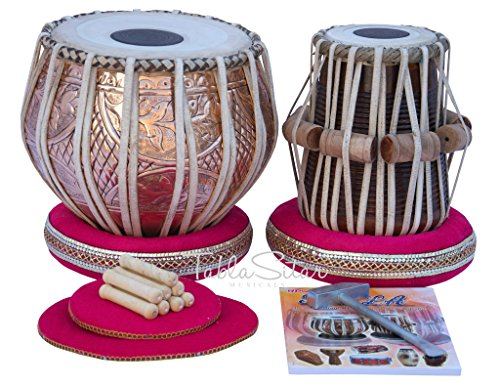 Tabla Drum Set by Maharaja Musicals, Professional, 3.5 Kilograms Copper Bayan - Designer Carving, Sheesham Tabla Dayan, Padded Bag, Book, Hammer, Cushions, Cover, Tabla Musical Instrument (PDI-CJH) by Maharaja Musicals