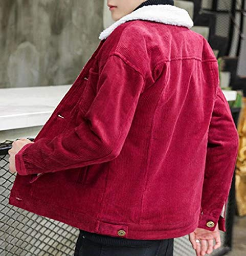 Casual Winter Coat TTYLLMAO Button Down Jacket Fit Men's Red Corduroy Slim Denim Wine CwwrIvB5q
