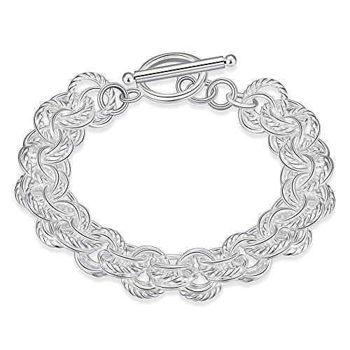 New Fashion Design Rolo Chain Silver Tone Circle Ring Link Bracelet Cuff Bangle Women Lady Charm Bracelet