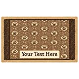 Drymate Personalized Pet Place Mat - Brown Paw Braid - Personalized Pet Food Mat (Medium - 12'' x 20'')