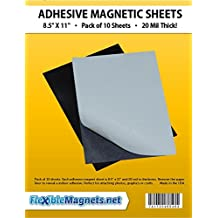 "10 Magnetic Sheets of 8.5"" x 11"" Adhesive 20 mil Magnet Peel & Stick"