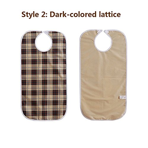 Adult Bibs Special Needs Patient Mealtime Eating Cloth Clothing Protectors Reusable Waterproof Large Long Feeding Bibs for Seniors (2 pcs - Lattice) by NEPPT (Image #7)