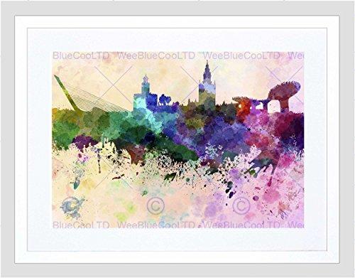 Painting Cityscape Paint Splash Skyline Seville Framed Art Print Mount B12X13552