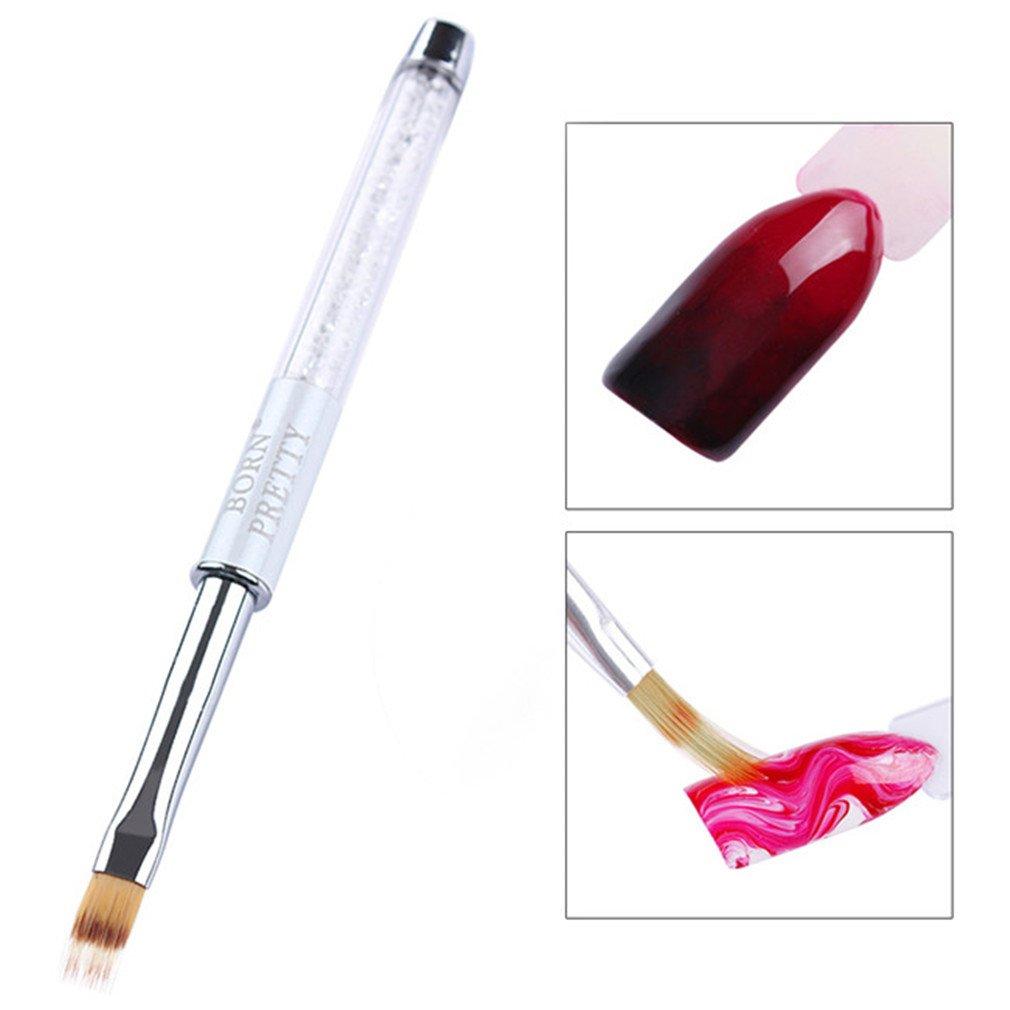 1 Pc Gradient Nail Brush Painting Pen Drawing Brush Rhinestone Wooden Handle Manicure Nail Art Tool White