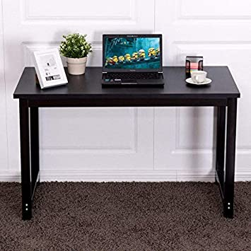 Tangkula Writing Study Desk, Computer Desk Writing Table, Wood Modern Simple Style PC Laptop Home Office Workstation Black