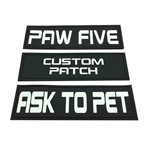 Paw Five CORE-1 Harness Hook & Loop Patches Ask to PET, Free HUGS, Service Dog, in Training Glow in The Dark (Custom Patch)