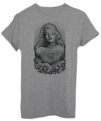 T-Shirt Marylin Porträt - Berühmt - iMage Grau STdnlENv