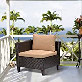 Outdoor Wicker Corner Chair Sofa, Patio Sectional Sofa Set Armless Corner Chair with 3.15'' Thickness Blue Cushions, Aluminum Frame, Long Lasting, UV/Water/Fade Resistant (Brown)