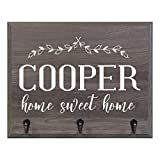 Personalized Family Name Home Sweet Home Wall Mounted Coat, Hat, Key, Pet Leash Collar and Jewelry Rack with 3 hooks 15'' w x 12'' h 4.25'' deep by Rooms Organized (Home Sweet Home)