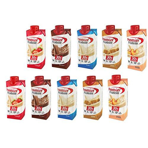Premier Protein High Protein Shake Variety, Strawberry Cream, Chocolate, Vanilla, Caramel, Peach & Cream (11 fl. oz, 10 ()