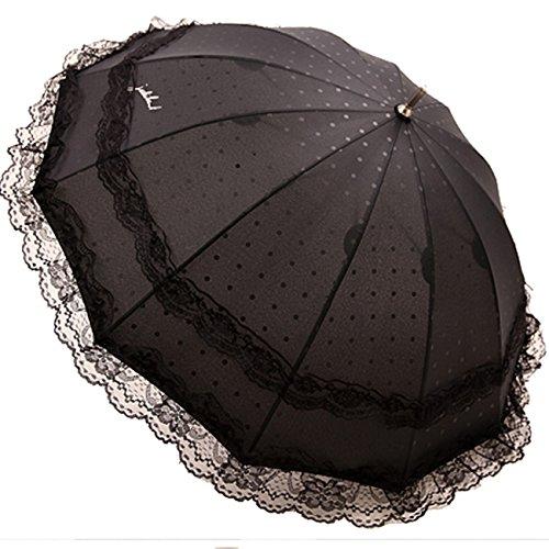 Kung Fu Smith Women Lace Flower Polka Dots Sun Protection Sun Parasol Rain Umbrella, - Victorian Umbrella