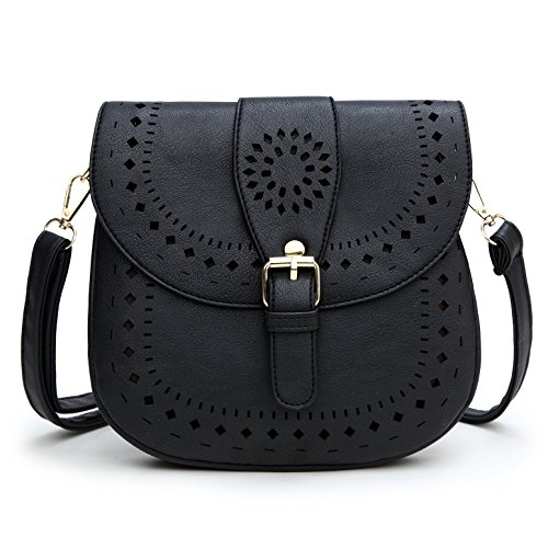 Forestfish Ladie's PU Leather Vintage Hollow Bag Crossbdy Bag Shoulder Bag (Black)