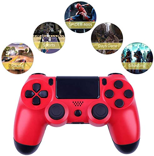 Wireless Controllers for PS4 Playstation 4 Dual Shock Six-axis,Bluetooth Remote Gaming Gamepad Joystick (Red)