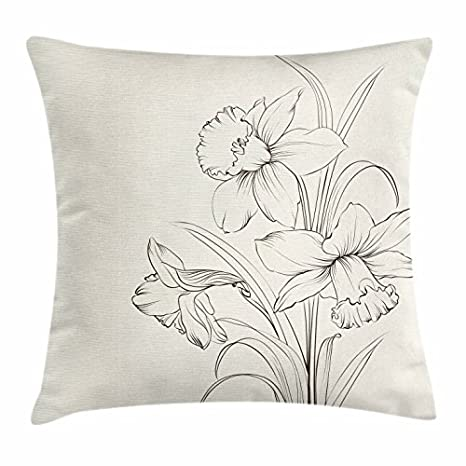 Flor manta almohada cojín funda, dibujado a mano dibujo ...
