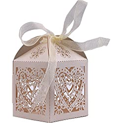 DriewWedding Party Favors Candy Boxes, Love Heart Laser Cut Wedding Party Favor Box Candy Bag Candy Gift Boxes Bridal Birthday Shower Bomboniere with Ribbons- Gold, Pack of 50