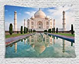 Ambesonne Asian Decor Collection, Taj Mahal In Sunrise Light, Agra, India History Love Story Emperor Landscape Marble, Bedroom Living Room Dorm Wall Hanging Tapestry, 80W X 60L Inch, Multi