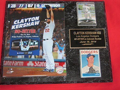 Los Angeles Dodgers Clayton Kershaw 2014 NO HITTER 2 Card Collector Plaque w/8x10 Photo (Clayton Kershaw No Hitter 8x10 compare prices)