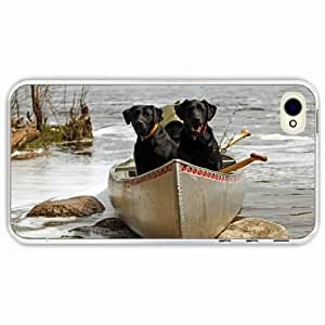 For Ipod Touch 5 Case Cover Black Hardshell Case dog couple boats rocks river Transparent Desin Images Protector Back Cover