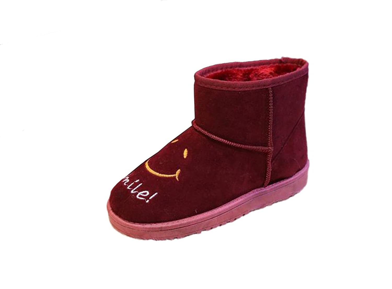 Mogu Women's Winter Short Snow Boot Smile Face Thick Cotton Flat Ankle Boots