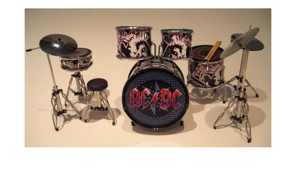 Rock Guitar Miniatures rgm301 AC DC Miniatura Drumkit Negro/Rojo Brian Johnson Malcolm Young Phil Rudd Angus Young Cliff Williams Viernes en mi Mente Alto ...