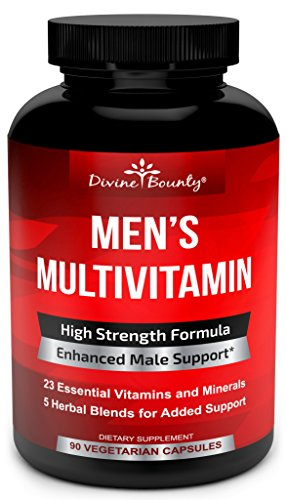Mens Multivitamin – Daily Multivitamin for Men with Vitamin A C D E K B Complex, Calcium, Magnesium, Selenium, Zinc Plus Heart, Brain, Immune, and Men's Multivitamins – 90 Vegetarian Capsules