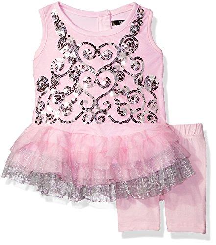 Kensie Girls' Sparkle Swirl Ruffle Top and Legging Set, Baby Pink, 3/6 Months