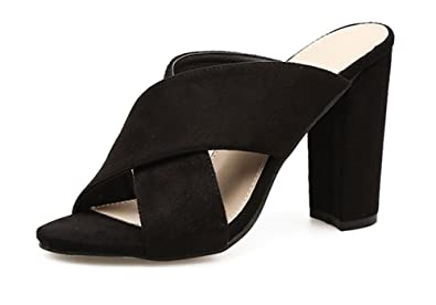 Aisun Damen Modern Elegant Offene Zehen Blockabsatz High Heels Pantolette