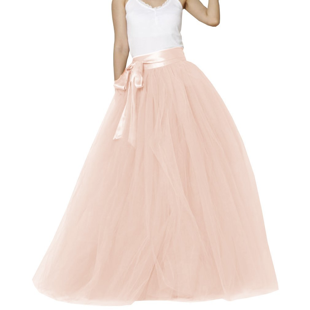 bluesh Pink Lisong Women Floor Length Bowknot 5Layered Tulle Party Evening Tutu Skirt