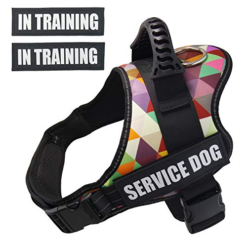 (Dihapet Dog Harness, Reflective No Pull No Choke Service Dog Harness Padded Vest, Adjustable Harness for Puppy Small Medium Large Breed Dog, XS)