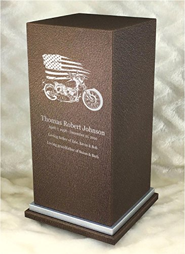 PERSONALIZED Engraved Motorcycle Cremation Urn for Human Ashes-Made in America-Handcrafted in the USA by Amaranthine Urns- Adult Funeral Urn up to 200 lbs living weight -Eaton SE- (Cast Bronze)