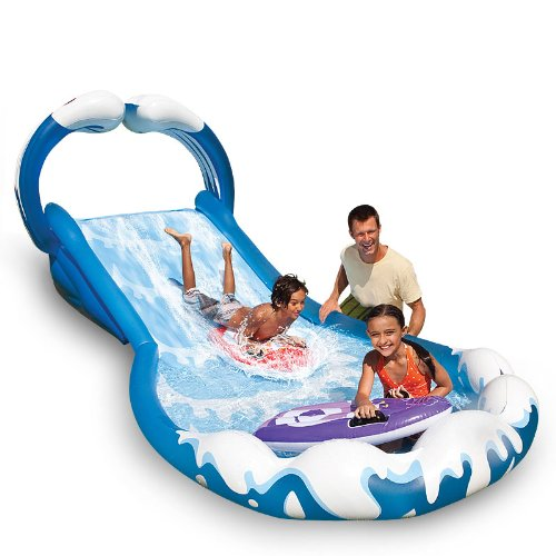 Intex Wasserrutsche Wasserrutschbahn Wasserbahn ausblasbar 406 x 168 x 163 cm mit 2 Wellenreitern